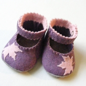 Autumn Heathered Purple and Pink Felt Baby Shoe